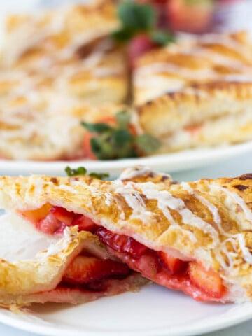vegan strawberry pop tarts on white plate