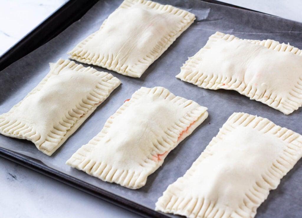 pre-baked vegan pop tarts crimped together with fork marks