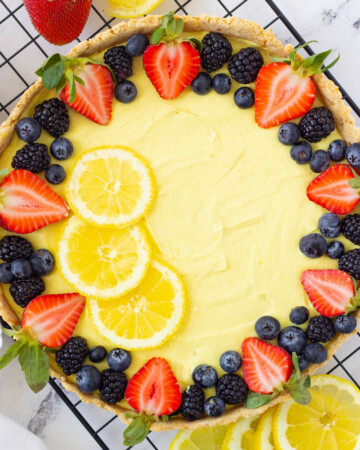 vegan tart with lemon custard and fresh berries