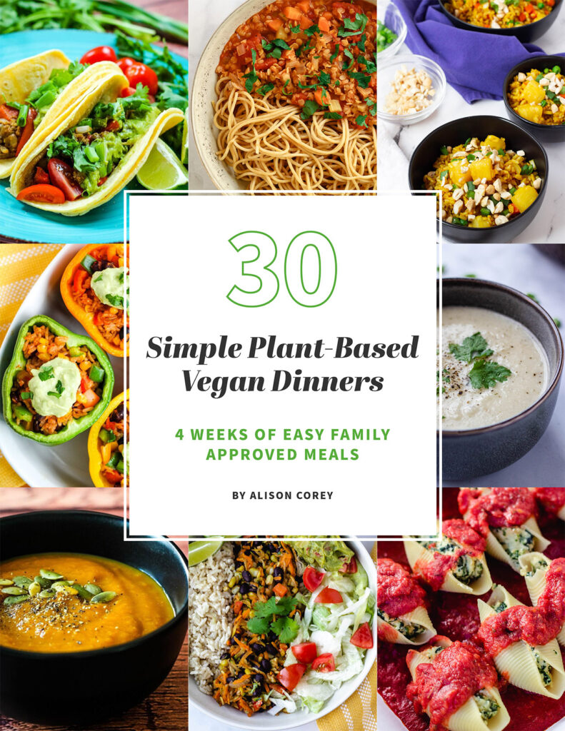 book cover for 30 Simple Plant-Based Vegan Dinners