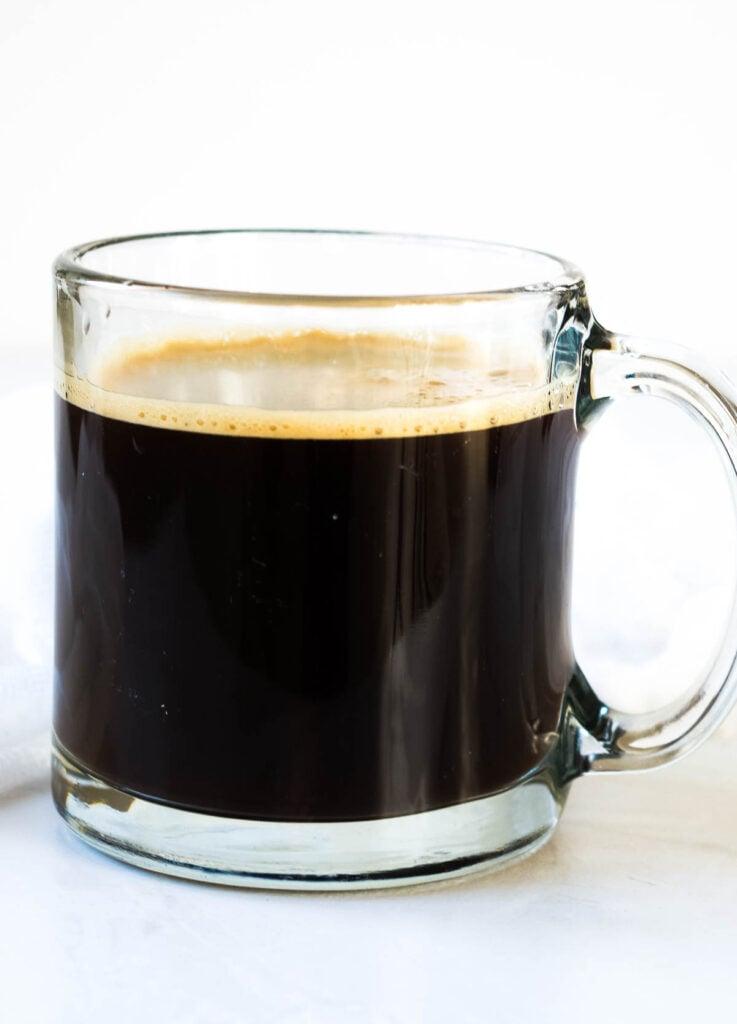 black coffee in glass mug