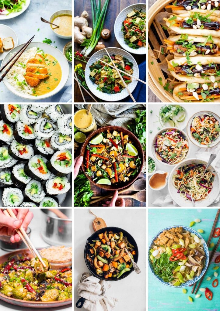 Asian vegan recipes collage, including noodle dishes, sushi, stir-fry, salads, buns, and vegetables