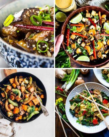 Asian Vegan Recipes collage including stir fry eggplant, Thai vegetable stir-fry, Thani Salad, and tofu veggie noodle bowl