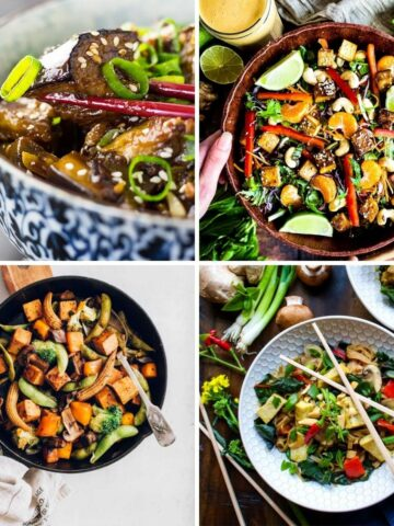 Asian Vegan Recipes collage including stir fry eggplant, Thai vegetable stir-fry, Thani Salad, and tofu veggie noodle bowl