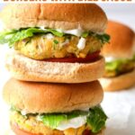 stack of veggie burgers with lettuce and tomato