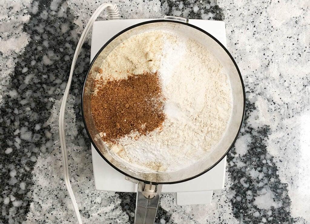 flours and coconut sugar in food processor