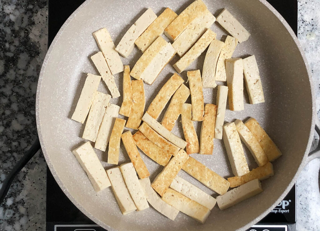 tofu strips in skillet