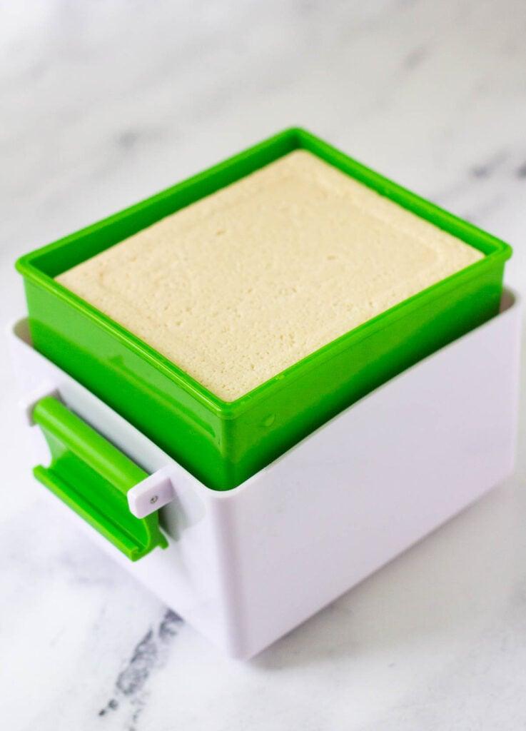 tofu block inside of yarkor tofu press