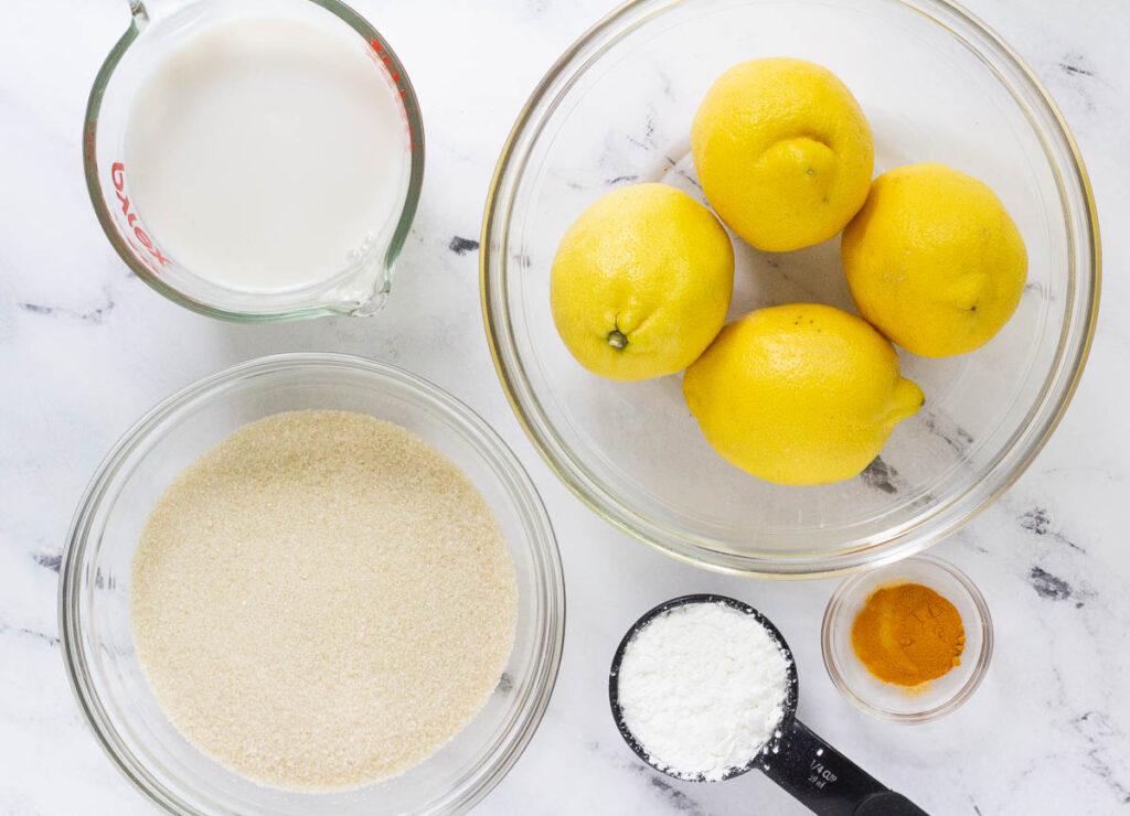 almond milk, 4 lemons, organic cane sugar, corn starch, and turmeric powder