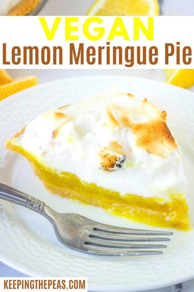 vegan lemon meringue pie on white plate with fork
