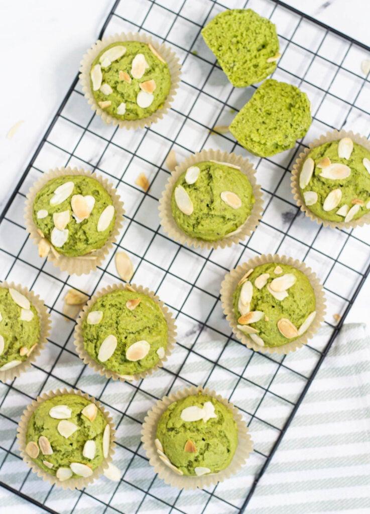 matcha muffins on cooling rack