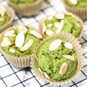 matcha muffins topped with almonds