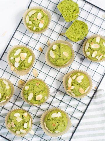 vegan matcha muffins on cooling rack