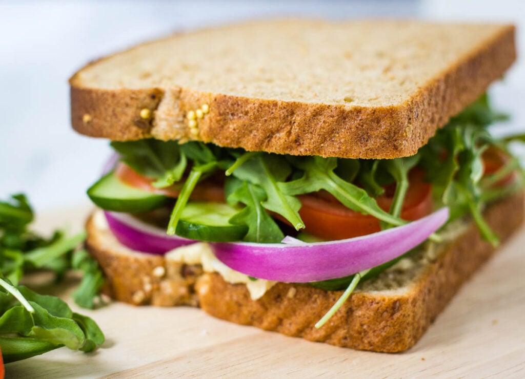 veggie sandwich on whole wheat bread