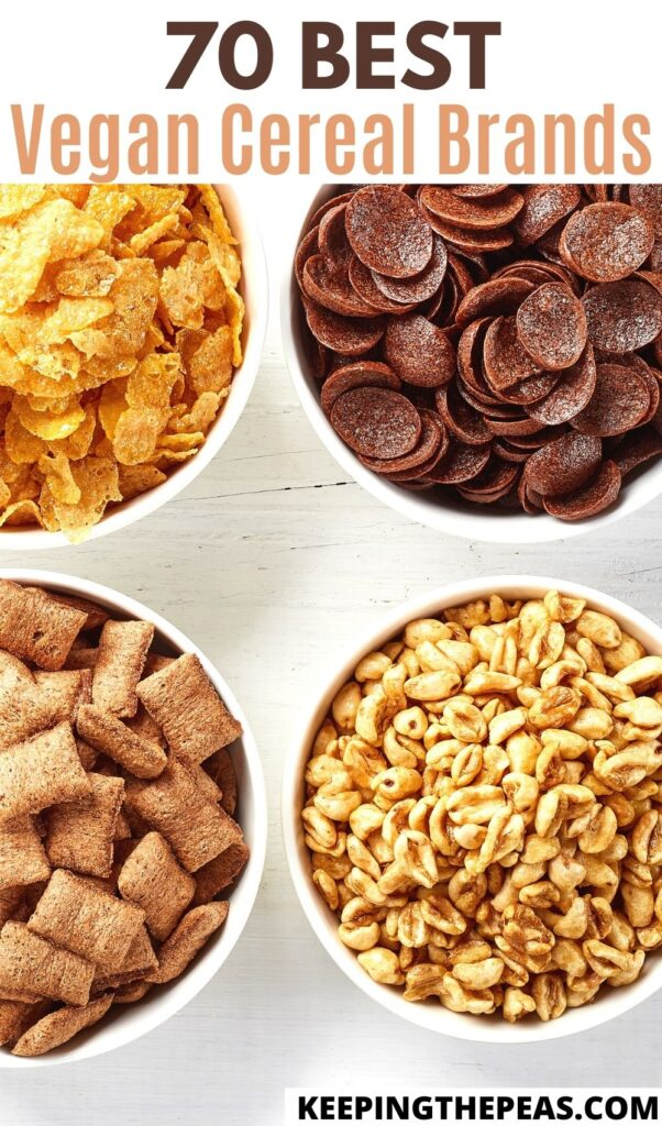 cereals for vegans: 4 white bowls filled with different types of cereal