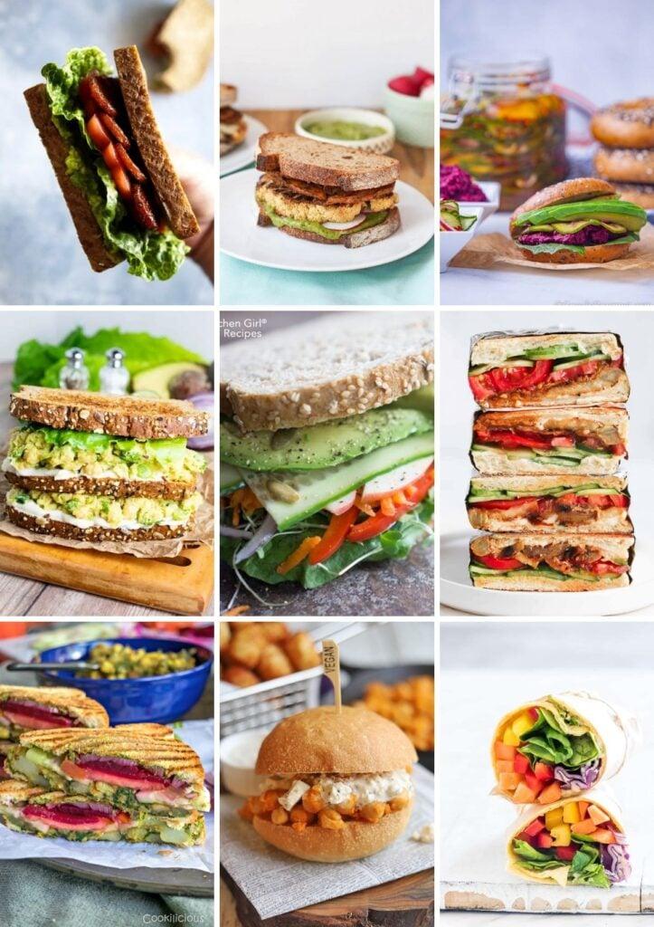collage of vegan sandwich recipes