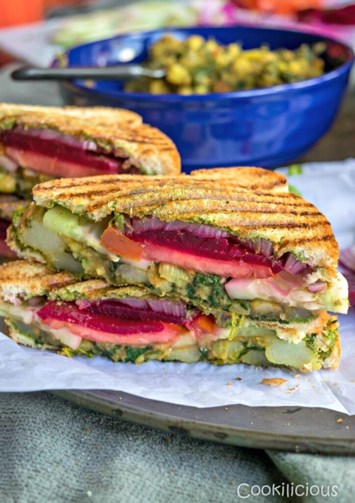 layered beet and grilled veggie sandwich