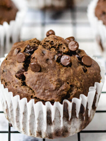 Double Chocolate vegan muffin on cooling rack.