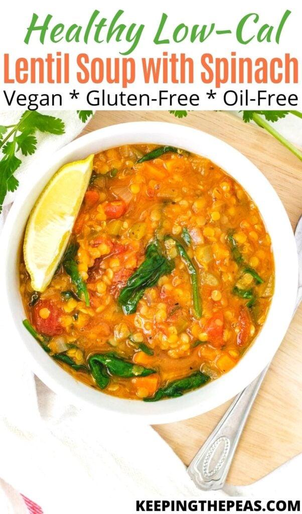 Low calorie lentil soup in white bowl.