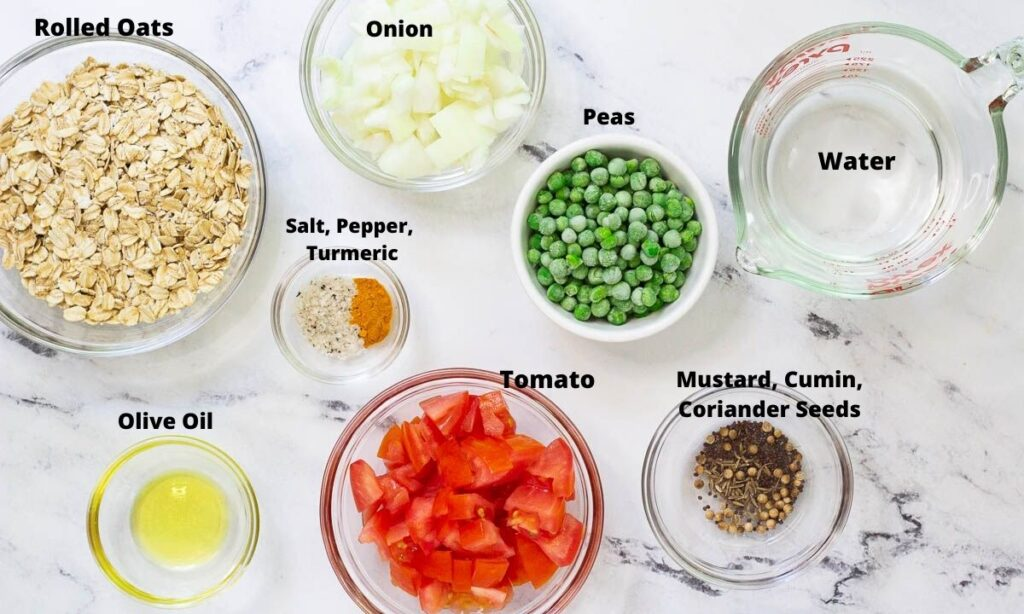 Ingredients for Masala Oats Recipe: oats, onion, olive oil, tomatoes, peas, water, salt, pepper, turmeric, mustard, cumin, and coriander seeds.