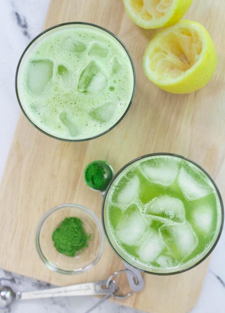 Top down look at matcha lemonade in glasses.