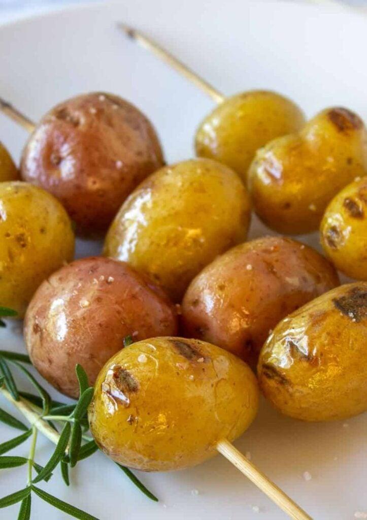 Roasted baby potato skewers.