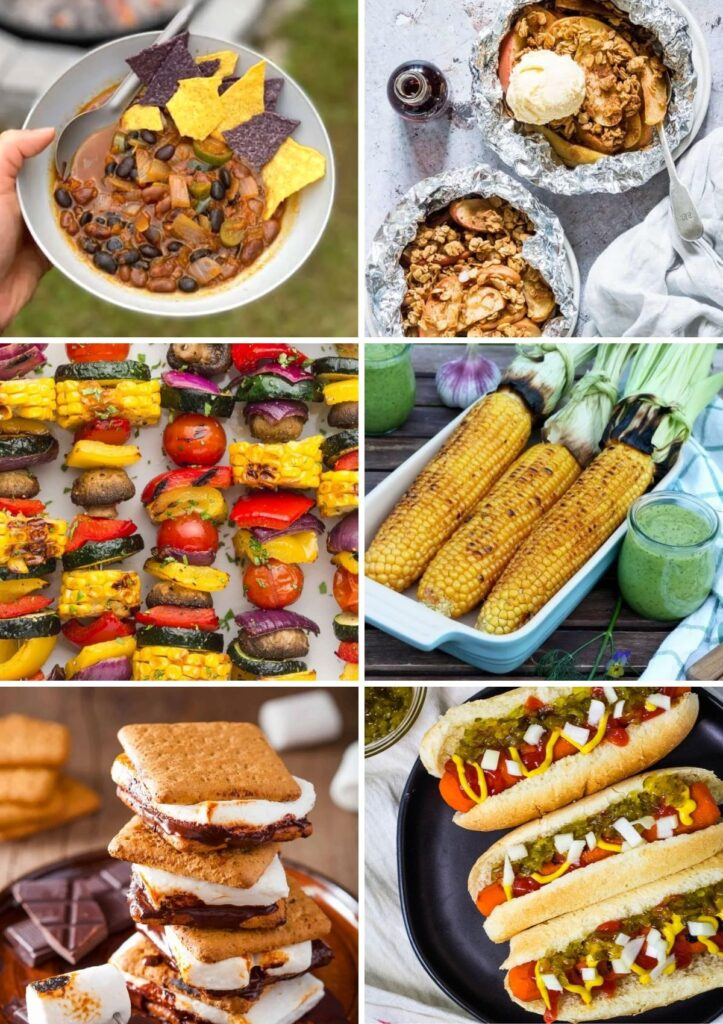 Vegan camping food collage with chili, apple crisp, veggie skewers, grilled corn, s'mores, carrot dogs.