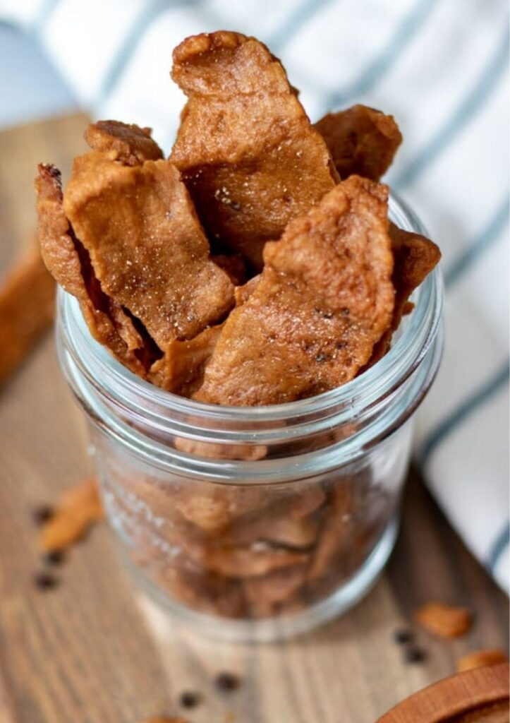 Seitan jerky in mason jar.