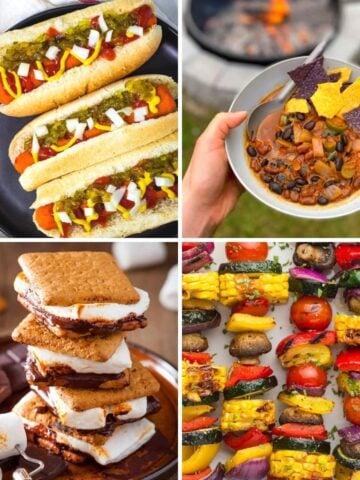 Vegan camping food collage: carrot hot dogs, campfire chili, vegan s'mores, veggie skewers.