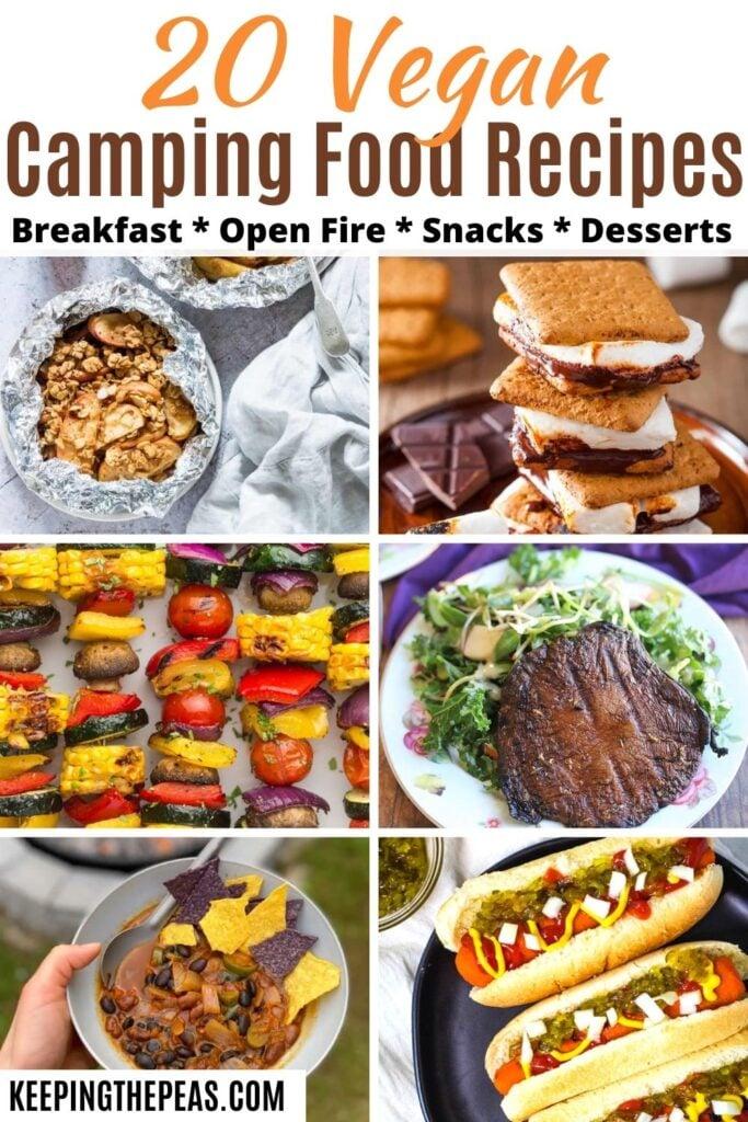 Vegan camping food collage: apple crisp, s'mores, veggie skewers, portobello mushroom, chili, carrot dogs.