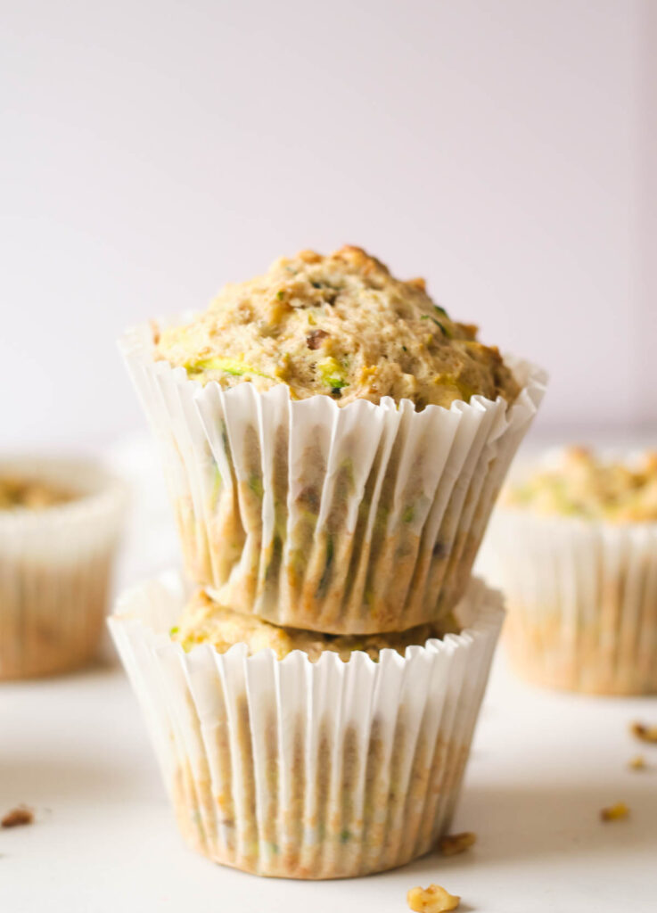 Two muffins stacked on top of one another.