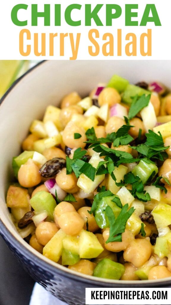 Chickpeas, raisins, red onion, diced apple, and celery in a curry dressing.