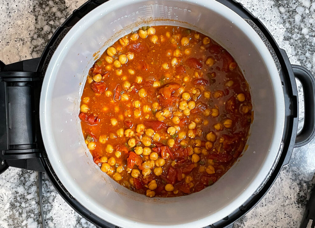 Cooked chana masala in the instant pot.