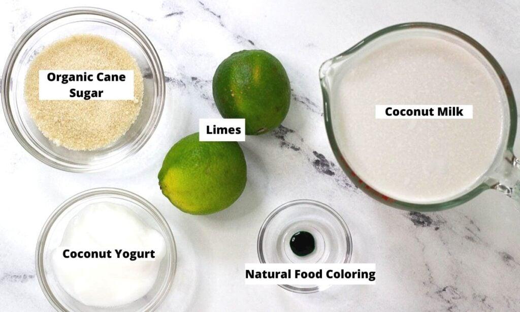 Organic cane sugar, limes, coconut milk, natural food coloring, coconut yogurt.