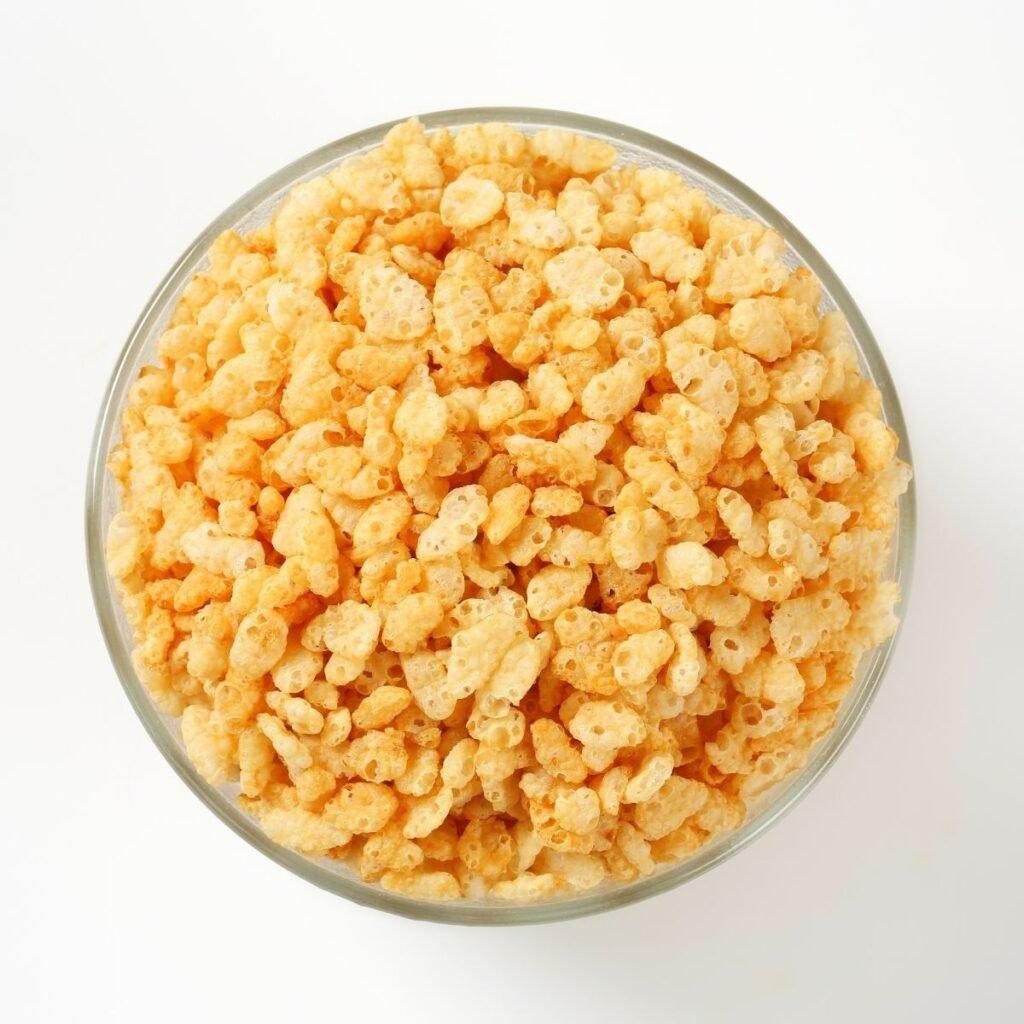 Bowl of rice krispie cereal.