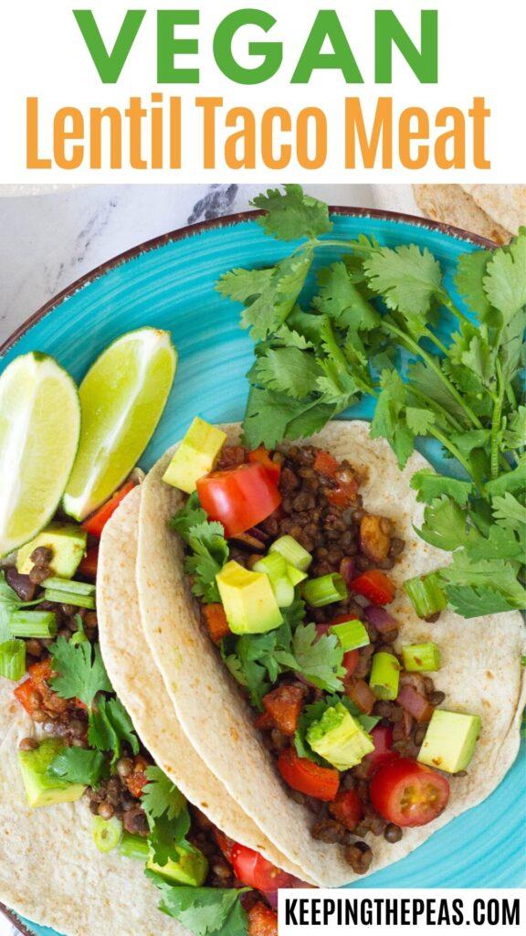 Vegan lentil tacos on turquoise plate.