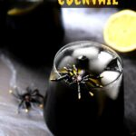Black vodka cocktail in glass topped with plastic spider.