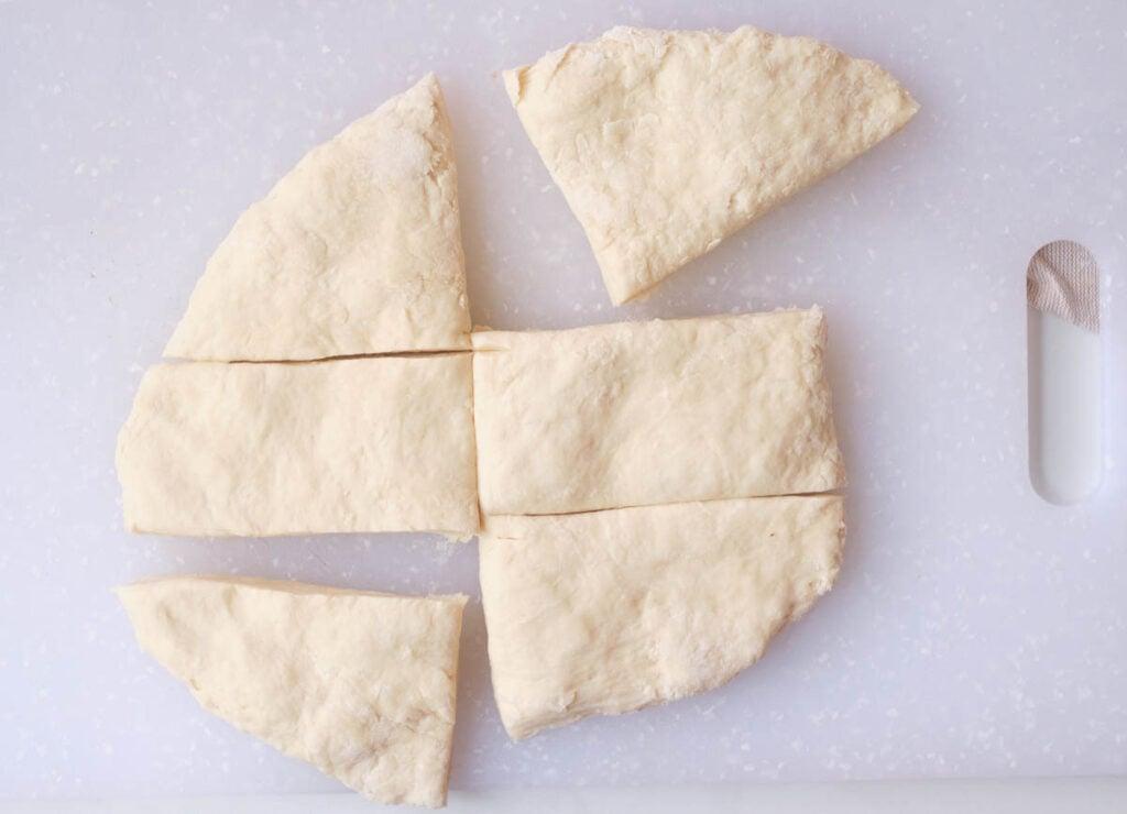 Dough cut into 6 pieces.
