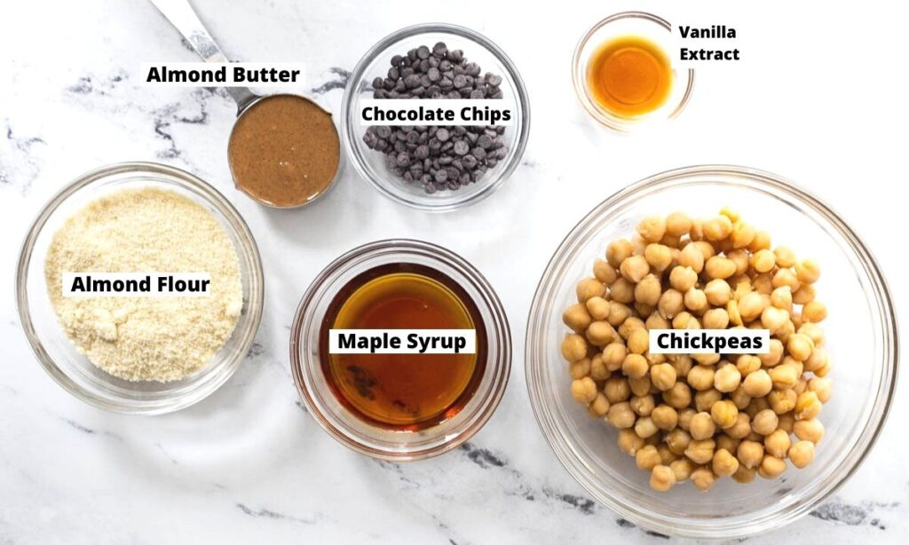 Chickpeas, maple syrup, almond flour, almond butter, chocolate chips, and vanilla extract.